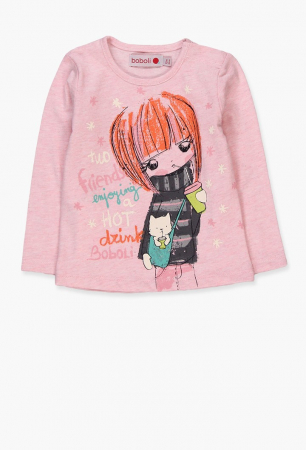 BOBOLI - Dětské dívčí tričko s dlouhým rukávem a potiskem  07afbdc898