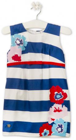 TUC TUC - Dívčí modrobílé pruhované šaty s květy  06c6be6b36
